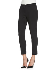 Skinny-Fit Cropped Pants, Black
