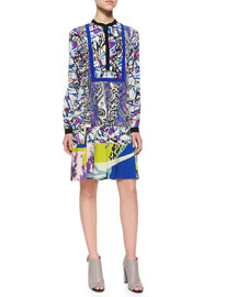 Paisley-Striped Splatter-Print Drop-Waist Dress