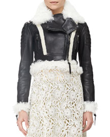 Shearling Fur-Trimmed Cropped Leather Jacket, Black