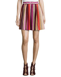 Zigzag Pleated Mini Skirt