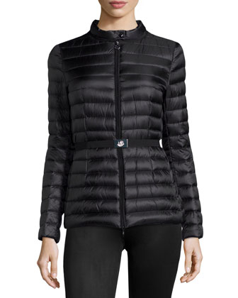 Damas Stripe-Quilted Belted Coat, Black