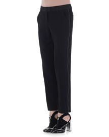 Side-Striped Slim-Fit Pants, Black