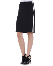 Contrast-Striped Pencil Skirt