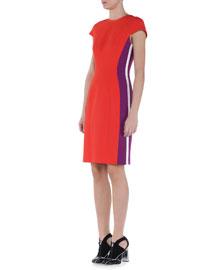 Cap-Sleeve Contrast-Striped Sheath Dress