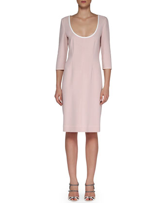 Scoop-Neck Contrast Fitted Dress