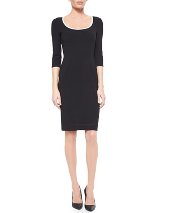 Scoop-Neck Contrast-Trimmed Sheath Dress