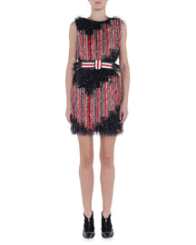 Allover Fringe Striped Dress
