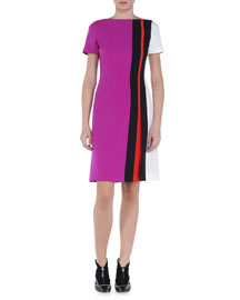 Contrast Intarsia Striped Dress