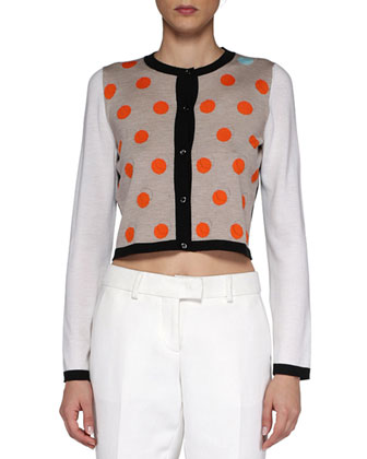 Dotted Cropped Knit Cardigan