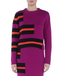 Cashmere Stair-Step Striped Sweater, Dahlia/Red/Black