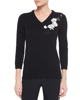 Cashmere Floral-Embroidered Sweater