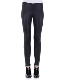 Stretch Napa Leather Skinny Pants
