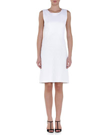 Diamond-Knit A-Line Dress, White