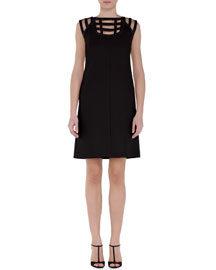 Leather Cutout Crepe Shift Dress