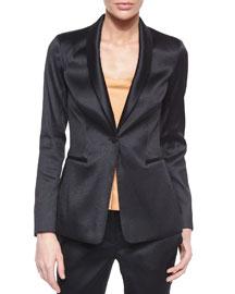 Satin Single-Button Tuxedo Jacket, Black