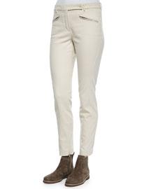 Devin Twill Skinny Pants, Natural Pearl