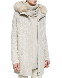Montgomery Fur-Trimmed Cashmere Cable-Knit Cardigan