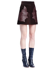 Paisley-Embroidered Suede Mini Skirt, Dark Brown