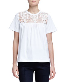 Floral-Embroidered Babydoll Top, White
