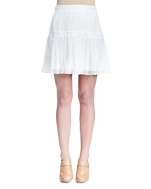 Pleated Tiered Mini Skirt, White