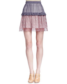 Patchwork Tiered Mini Skirt