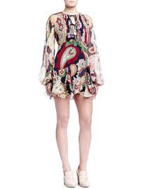 Paisley-Print Lace-Up Dress