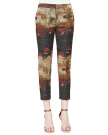 Watercolor-Print Textured Ankle Pants