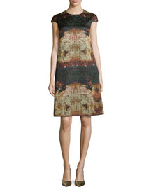 Cap-Sleeve Watercolor-Print A-Line Dress