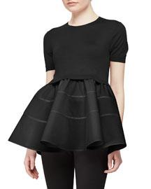 Cashmere-Blend Contrast Cap-Sleeve Peplum Sweater