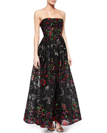 Strapless Floral-Embroidered Gown