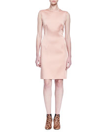 Sleeveless Satin Sheath Dress, Blush