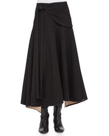 Double-Faced Tie-Waist Full Skirt
