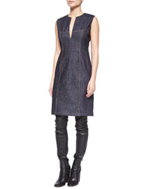 Denim Split-Neck Sheath Dress