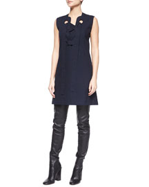 Lace-Up-Front Shift Dress