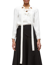 Lace-Up-Front Georgette Blouse
