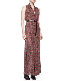 Floral-Print High-Slit Shirtdress w/ Belt