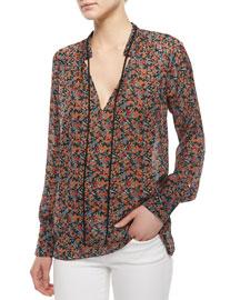 Tie-Neck Floral-Print Blouse