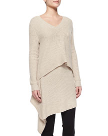 Cashmere Layered Asymmetric Ribbed Tunic