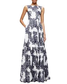 Alouette Floral-Print Gown
