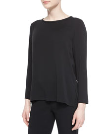 Round-Neck Arched Hem Blouse