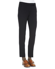 Gabardine Straight-Leg Ankle Pants, Black