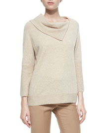 Split Cowl-Neck Cashmere Sweater