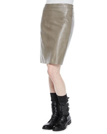 Ostrich-Stamped Combo Pencil Skirt, Medium Gray