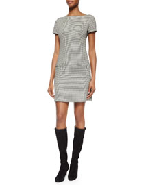 Short-Sleeve Houndstooth Sheath Dress