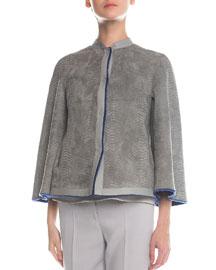 Reversible Shearling Fur & Snake-Stamped Jacket