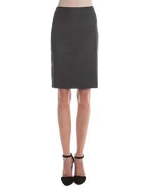 Pinstripe Wool Pencil Skirt