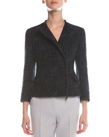 Asymmetric Zip Boucle Jacket