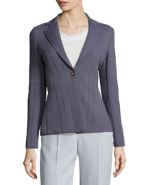 Ottoman Seamed One-Button Jacket, Lavender