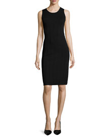 Sleeveless Ottoman-Knit Dress, Black