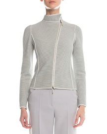 Piped Asymmetric Zip-Front Jacket